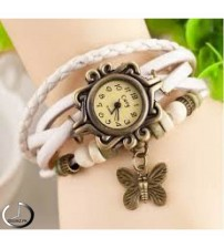 White Leather Ladies Watch for Women-Girls