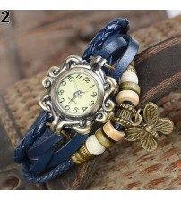 Blue Leather Ladies Watch for Women-Girls