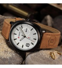 Curren White Dial , Brown Leather Strap Watch for Men and Women