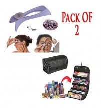 Pack Of 2 - Cosmetic Bag Roll N Go + Slique Hair Threadner.