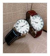 Deemiz Pack Of 2 - Black & Brown Leather Analog Watches For Men