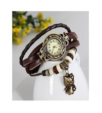 Deemiz Brown Vintage Style Leather Band Watches For Girls