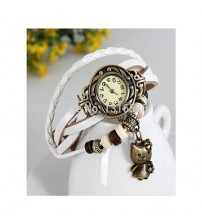 Deemiz White Vintage Style Leather Band Watches For Girls