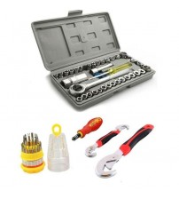 Pack of 3 - Socket & Wrench Set With Screwdriver - Multicolor