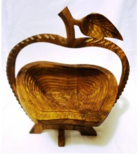 Apple Shape Foldable Fruit Basket - Wood Color