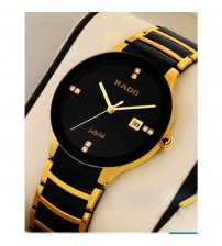 Stylish Golden Black Analogue Watch with Auto Date - RD