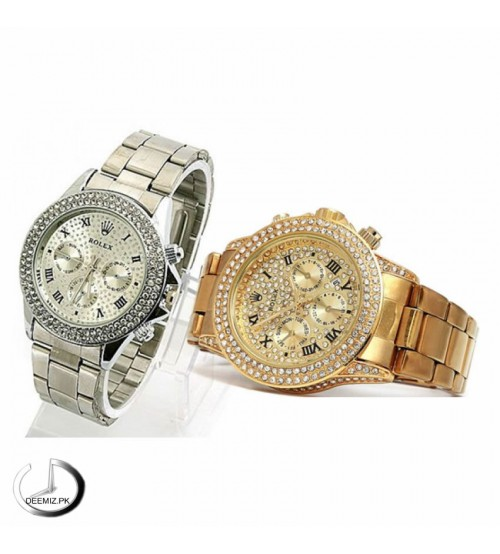 Pack of 2 Silver and Golden Watches for Men / Women