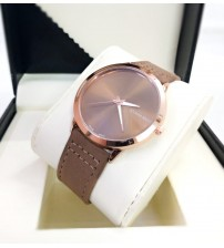 CK Watch with Brown Leather Belt for Him and Her New Business Style Watch